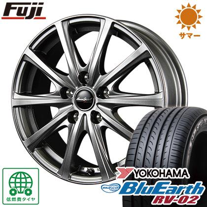 タイヤはフジ 送料無料 MID ユーロスピード V25 6.5J 6.50-16 YOKOHAMA ブルーアース RV-02 195/60R16 16インチ サマータイヤ ホイール4本セット