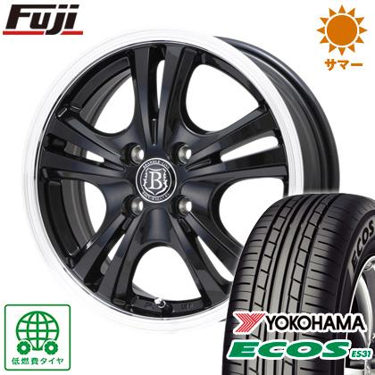 タイヤはフジ 送料無料 N-BOX専用 BRANDLE-LINE ブラックシリーズ アルボレア 4J 4.00-13 145/80R13 13インチ YOKOHAMA エコス ES31 サマータイヤ ホイール4本セット