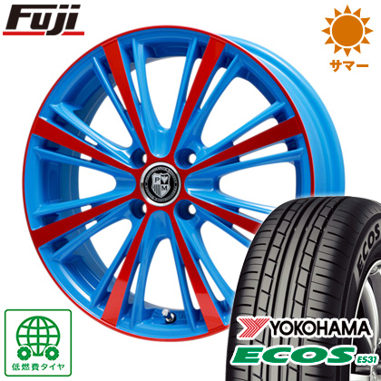 タイヤはフジ 送料無料 PREMIX プレミックス アマルフィ(ブルー) 6.5J 6.50-16 YOKOHAMA エコス ES31 185/60R16 16インチ サマータイヤ ホイール4本セット