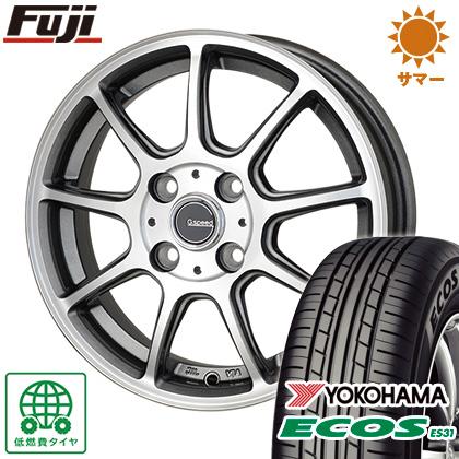 タイヤはフジ 送料無料 HOT STUFF ホットスタッフ ジースピード P-01 5.5J 5.50-15 YOKOHAMA エコス ES31 185/55R15 15インチ サマータイヤ ホイール4本セット