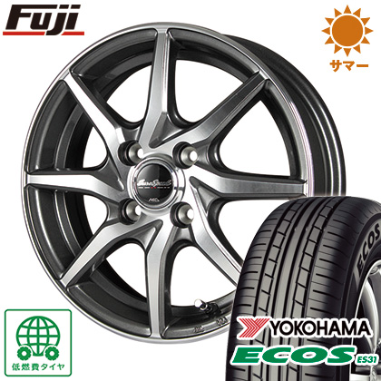 タイヤはフジ 送料無料 MID ユーロスピード S810 4J 4.00-13 YOKOHAMA エコス ES31 145/80R13 13インチ サマータイヤ ホイール4本セット