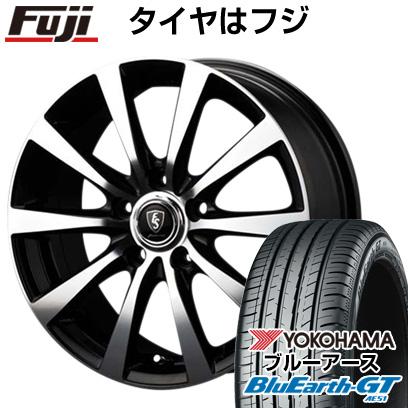 8月 2・5・8日はポイント倍増! タイヤはフジ 送料無料 MID ユーロスピード BL-10 6.5J 6.50-16 YOKOHAMA ブルーアース GT AE51 195/55R16 16インチ サマータイヤ ホイール4本セット