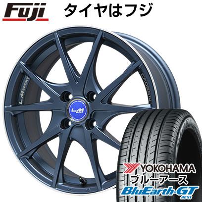 タイヤはフジ 送料無料 LEHRMEISTER レアマイスター LMスポーツクロス10 マットブルー 5J 5.00-15 YOKOHAMA ブルーアース GT AE51 165/55R15 15インチ サマータイヤ ホイール4本セット