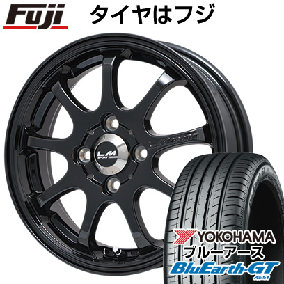 タイヤはフジ 送料無料 LEHRMEISTER レアマイスター LMスポーツファイナル(グロスブラック) 6.5J 6.50-16 YOKOHAMA ブルーアース GT AE51 195/45R16 16インチ サマータイヤ ホイール4本セット