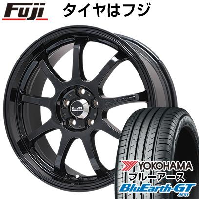 タイヤはフジ 送料無料 LEHRMEISTER レアマイスター LMスポーツファイナル(グロスブラック) 7.5J 7.50-17 YOKOHAMA ブルーアース GT AE51 215/55R17 17インチ サマータイヤ ホイール4本セット