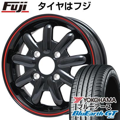 タイヤはフジ 送料無料 BRANDLE-LINE ブランドルライン ストレンジャーKST-9 (ブラック/レッドライン) 4.5J 4.50-14 YOKOHAMA ブルーアース GT AE51 155/65R14 14インチ サマータイヤ ホイール4本セット