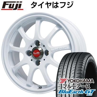 タイヤはフジ 送料無料 LEHRMEISTER レアマイスター LMスポーツファイナル(ホワイト) 4.5J 4.50-14 YOKOHAMA ブルーアース GT AE51 155/65R14 14インチ サマータイヤ ホイール4本セット