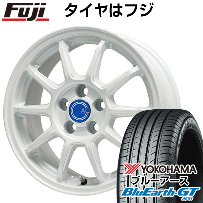 タイヤはフジ 送料無料 BRANDLE-LINE ブランドルライン カルッシャー ホワイト 7J 7.00-16 YOKOHAMA ブルーアース GT AE51 215/60R16 16インチ サマータイヤ ホイール4本セット