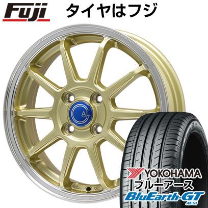 タイヤはフジ 送料無料 BRANDLE-LINE ブランドルライン カルッシャー ゴールド/リムポリッシュ 5.5J 5.50-15 YOKOHAMA ブルーアース GT AE51 185/60R15 15インチ サマータイヤ ホイール4本セット