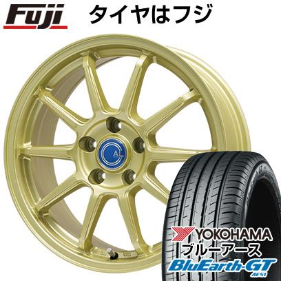 タイヤはフジ 送料無料 BRANDLE-LINE ブランドルライン カルッシャー ゴールド 6J 6.00-15 YOKOHAMA ブルーアース GT AE51 195/65R15 15インチ サマータイヤ ホイール4本セット