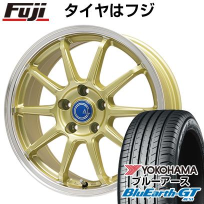 タイヤはフジ 送料無料 BRANDLE-LINE ブランドルライン カルッシャー ゴールド/リムポリッシュ 7J 7.00-17 YOKOHAMA ブルーアース GT AE51 225/50R17 17インチ サマータイヤ ホイール4本セット