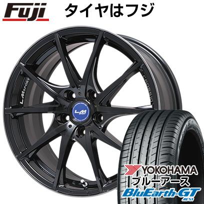 タイヤはフジ 送料無料 LEHRMEISTER レアマイスター LMスポーツクロス10 マシニングブラッククリア 7.5J 7.50-18 YOKOHAMA ブルーアース GT AE51 225/50R18 18インチ サマータイヤ ホイール4本セット