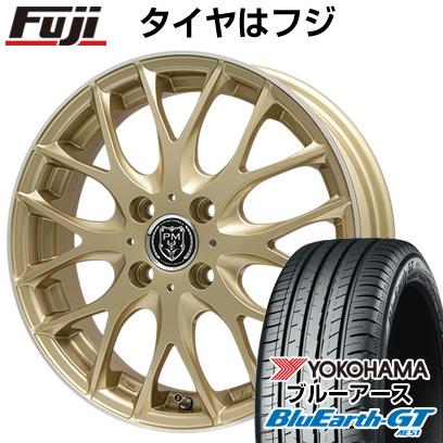 8月 2・5・8日はポイント倍増! タイヤはフジ 送料無料 PREMIX プレミックス グラッパ(ゴールド/リムポリッシュ) 4.5J 4.50-15 YOKOHAMA ブルーアース GT AE51 165/55R15 15インチ サマータイヤ ホイール4本セット