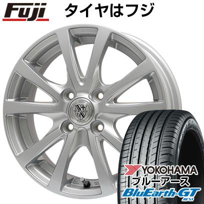 タイヤはフジ 送料無料 BIGWAY ビッグウエイ TRG シルバーン 4.5J 4.50-14 YOKOHAMA ブルーアース GT AE51 155/65R14 14インチ サマータイヤ ホイール4本セット
