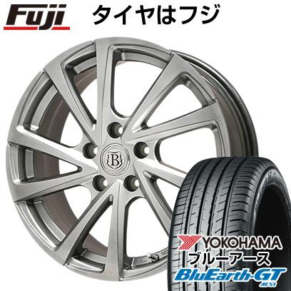 タイヤはフジ 送料無料 BRANDLE ブランドル E04 6.5J 6.50-16 YOKOHAMA ブルーアース GT AE51 195/55R16 16インチ サマータイヤ ホイール4本セット