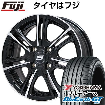 タイヤはフジ 送料無料 BRANDLE ブランドル M68BP 5.5J 5.50-15 YOKOHAMA ブルーアース GT AE51 185/55R15 15インチ サマータイヤ ホイール4本セット