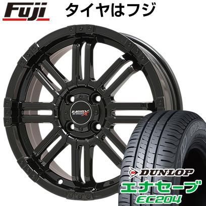 タイヤはフジ 送料無料 BIGWAY ビッグウエイ B-MUD X(グロスブラック) 4.5J 4.50-15 DUNLOP エナセーブ EC204 165/60R15 15インチ サマータイヤ ホイール4本セット