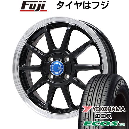 タイヤはフジ 送料無料 BRANDLE-LINE カルッシャー ブラック/リムポリッシュ 4.5J 4.50-15 YOKOHAMA エコス ES31 165/50R15 15インチ サマータイヤ ホイール4本セット