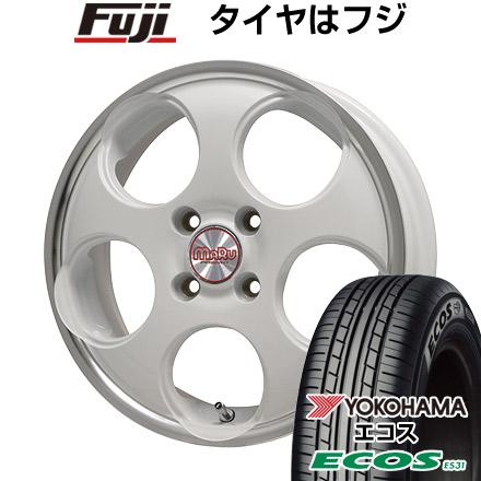 タイヤはフジ 送料無料 ソリオ(MA36S) PREMIX プレミックス マル(ホワイト/リムポリッシュ) 4.5J 4.50-15 YOKOHAMA エコス ES31 165/65R15 15インチ サマータイヤ ホイール4本セット