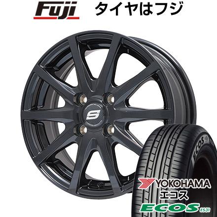 タイヤはフジ 送料無料 BRANDLE ブランドル M71B 5.5J 5.50-14 YOKOHAMA エコス ES31 165/70R14 14インチ サマータイヤ ホイール4本セット