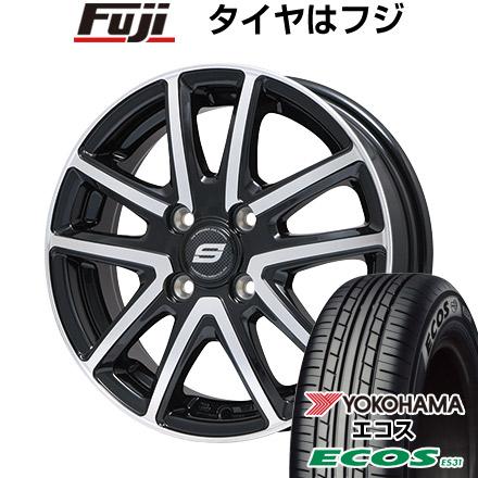 タイヤはフジ 送料無料 BRANDLE ブランドル M61BP 4.5J 4.50-15 YOKOHAMA エコス ES31 165/55R15 15インチ サマータイヤ ホイール4本セット