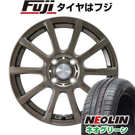 7/25はエントリーでポイント15倍 タイヤはフジ 送料無料 カジュアルセット タイプB17 ブロンズ 4.5J 4.50-15 NEOLIN ネオリン ネオグリーン(限定) 165/55R15 15インチ サマータイヤ ホイール4本セット