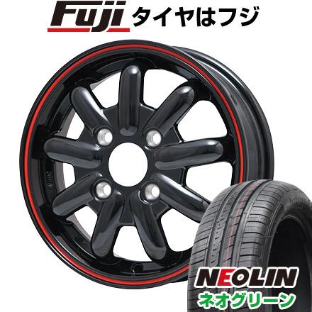タイヤはフジ 送料無料 BRANDLE-LINE ブランドルライン ストレンジャーKST-9 (ブラック/レッドライン) 4.5J 4.50-14 NEOLIN ネオリン ネオグリーン(限定) 165/55R14 14インチ サマータイヤ ホイール4本セット