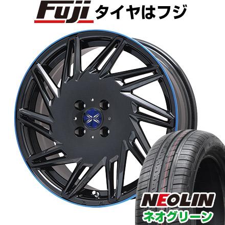 タイヤはフジ 送料無料 PREMIX プレミックス バリック パールブラックブルークリア限定 4.5J 4.50-15 NEOLIN ネオリン ネオグリーン(限定) 165/55R15 15インチ サマータイヤ ホイール4本セット