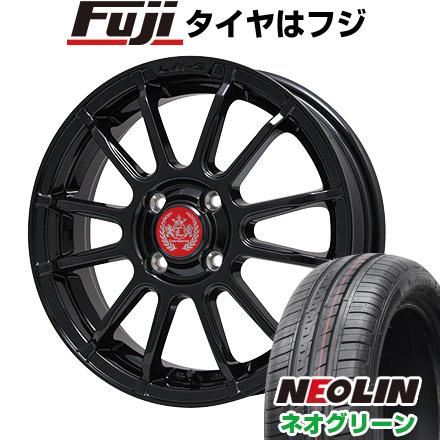 タイヤはフジ 送料無料 LEHRMEISTER LM-S トスカーナ6 (グロスブラック) 4.5J 4.50-15 NEOLIN ネオリン ネオグリーン(限定) 165/50R15 15インチ サマータイヤ ホイール4本セット