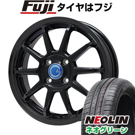 タイヤはフジ 送料無料 BRANDLE-LINE ブランドルライン カルッシャー ブラック 4.5J 4.50-15 NEOLIN ネオリン ネオグリーン(限定) 165/55R15 15インチ サマータイヤ ホイール4本セット