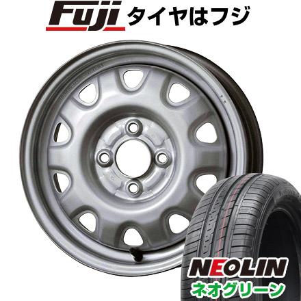 タイヤはフジ 送料無料 ELBE エルベ オリジナル スチール M73 4.5J 4.50-14 NEOLIN ネオリン ネオグリーン(限定) 165/55R14 14インチ サマータイヤ ホイール4本セット