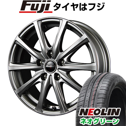 タイヤはフジ 送料無料 MID ユーロスピード V25 5.5J 5.50-15 NEOLIN ネオリン ネオグリーン(限定) 185/55R15 15インチ サマータイヤ ホイール4本セット