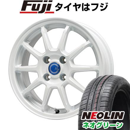 タイヤはフジ 送料無料 BRANDLE-LINE ブランドルライン カルッシャー ホワイト 4.5J 4.50-15 NEOLIN ネオリン ネオグリーン(限定) 165/50R15 15インチ サマータイヤ ホイール4本セット