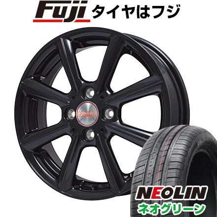 タイヤはフジ 送料無料 PREMIX プレミックス ナナ(グロスブラック) 4.5J 4.50-15 NEOLIN ネオリン ネオグリーン(限定) 165/50R15 15インチ サマータイヤ ホイール4本セット