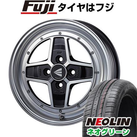 タイヤはフジ 送料無料 ENKEI エンケイ アパッチ2 5J 5.00-15 NEOLIN ネオリン ネオグリーン(限定) 165/55R15 15インチ サマータイヤ ホイール4本セット