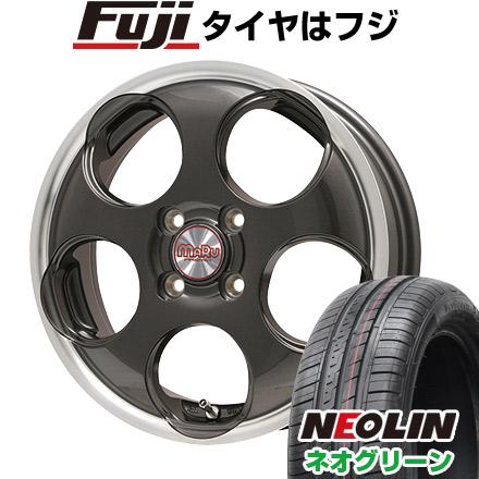 タイヤはフジ 送料無料 PREMIX プレミックス マル(ガンメタ/リムポリッシュ) 4.5J 4.50-15 NEOLIN ネオリン ネオグリーン(限定) 165/50R15 15インチ サマータイヤ ホイール4本セット