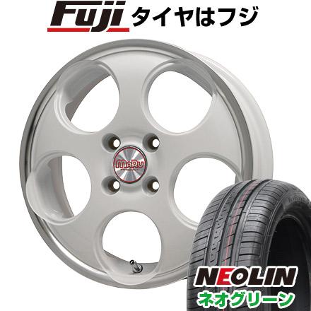 タイヤはフジ 送料無料 PREMIX プレミックス マル(ホワイト/リムポリッシュ) 4.5J 4.50-15 NEOLIN ネオリン ネオグリーン(限定) 165/55R15 15インチ サマータイヤ ホイール4本セット