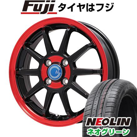 タイヤはフジ 送料無料 BRANDLE-LINE ブランドルライン カルッシャー ブラック/レッドクリア 4.5J 4.50-14 NEOLIN ネオリン ネオグリーン(限定) 165/55R14 14インチ サマータイヤ ホイール4本セット