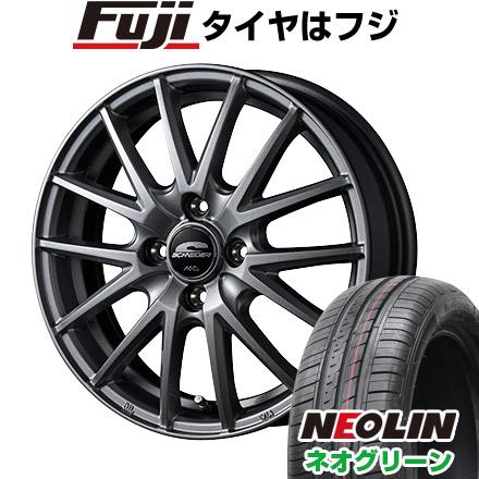 タイヤはフジ 送料無料 MID シュナイダー SQ27 4.5J 4.50-15 NEOLIN ネオリン ネオグリーン(限定) 165/50R15 15インチ サマータイヤ ホイール4本セット
