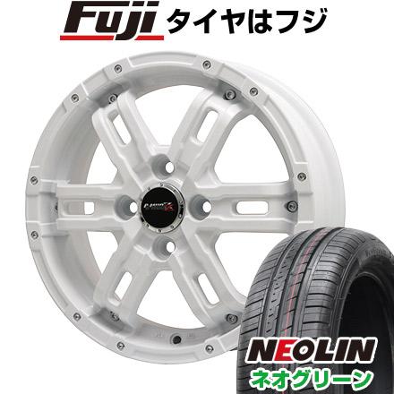 タイヤはフジ 送料無料 BIGWAY ビッグウエイ B-MUD Z(ホワイト) 4.5J 4.50-15 NEOLIN ネオリン ネオグリーン(限定) 165/50R15 15インチ サマータイヤ ホイール4本セット