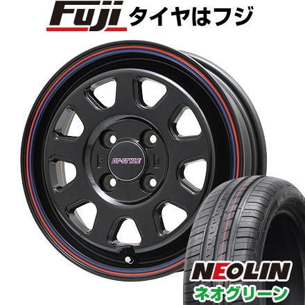 タイヤはフジ 送料無料 BIGWAY ビッグウエイ DT-STYLE 4.5J 4.50-14 NEOLIN ネオリン ネオグリーン(限定) 165/55R14 14インチ サマータイヤ ホイール4本セット