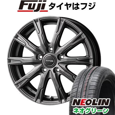 タイヤはフジ 送料無料 TOPY トピー アザーネ E10 5.5J 5.50-15 NEOLIN ネオリン ネオグリーン(限定) 185/55R15 15インチ サマータイヤ ホイール4本セット