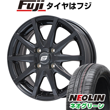 タイヤはフジ 送料無料 BRANDLE ブランドル M71B 4.5J 4.50-14 NEOLIN ネオリン ネオグリーン(限定) 165/55R14 14インチ サマータイヤ ホイール4本セット