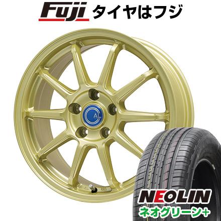 タイヤはフジ 送料無料 BRANDLE-LINE ブランドルライン カルッシャー ゴールド 6J 6.00-16 NEOLIN ネオリン ネオグリーン プラス(限定) 195/55R16 16インチ サマータイヤ ホイール4本セット