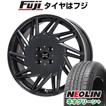タイヤはフジ 送料無料 PREMIX プレミックス バリック パールブラックリムポリッシュ 限定 6.5J 6.50-16 NEOLIN ネオリン ネオグリーン プラス(限定) 195/55R16 16インチ サマータイヤ ホイール4本セット