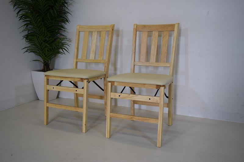 2脚組 折り畳み式木製ダイニングチェア ブラウン B1.9.1.1.1-4.Y.R