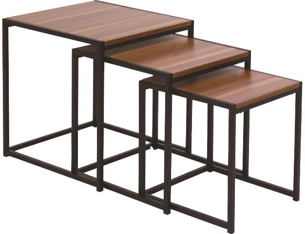 サイズの異なる3つのテーブルセット、「ドム」天板は熱やキズに強いメラミン樹脂仕上げ。ナチュラルとブラウンの2カラー