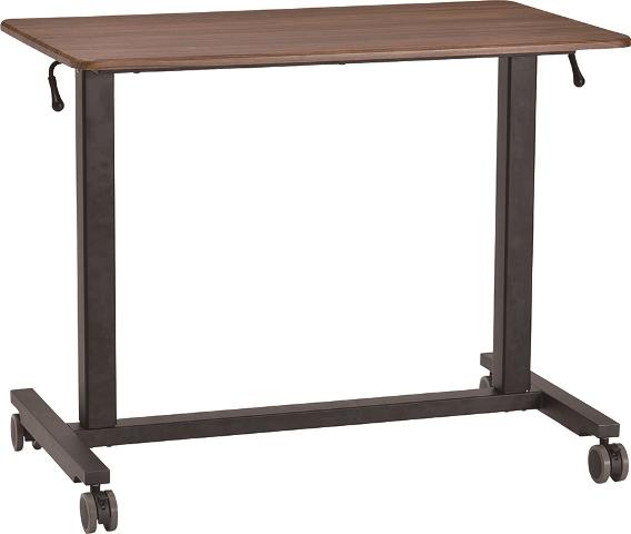 天板の高さが変えられる昇降式テーブル、キャスター付で移動も簡単、スタイリッシュなデザインでカラーもナチュラルとブラウンの2色から選べます。「昇降テーブル トミー」