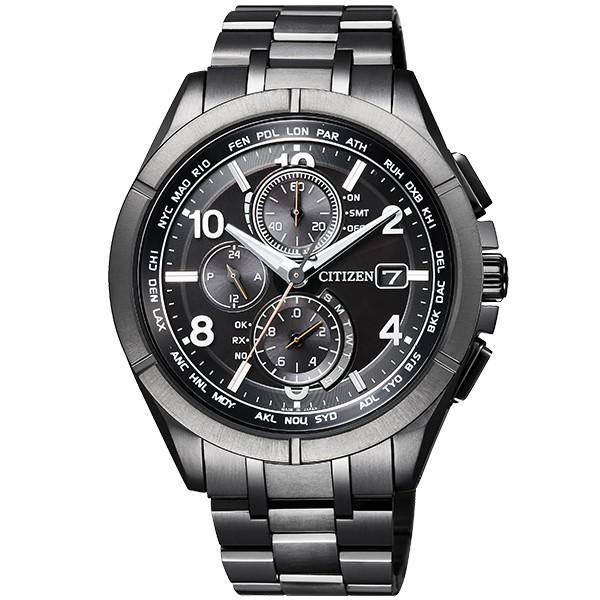 シチズン腕時計ソーラー電波時計アテッサブラックチタンシリーズダイレクトフライト針表示式AT8166-59E