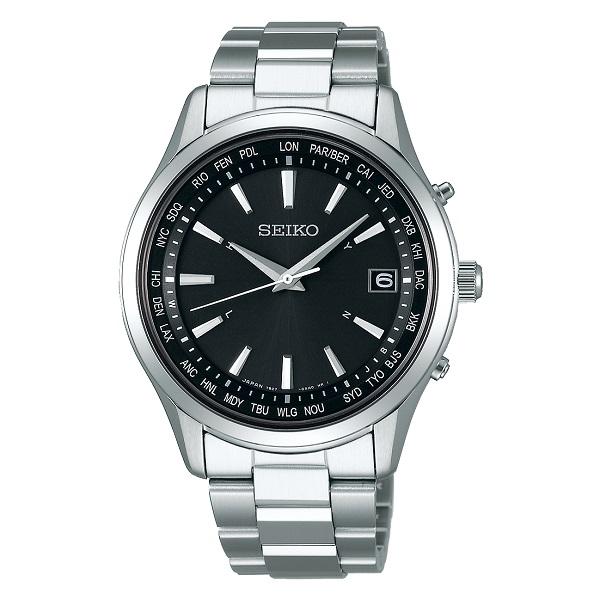 SEIKO セイコー電波 ソーラー腕時計 セイコーセレクションワールドタイムメンズSBTM273